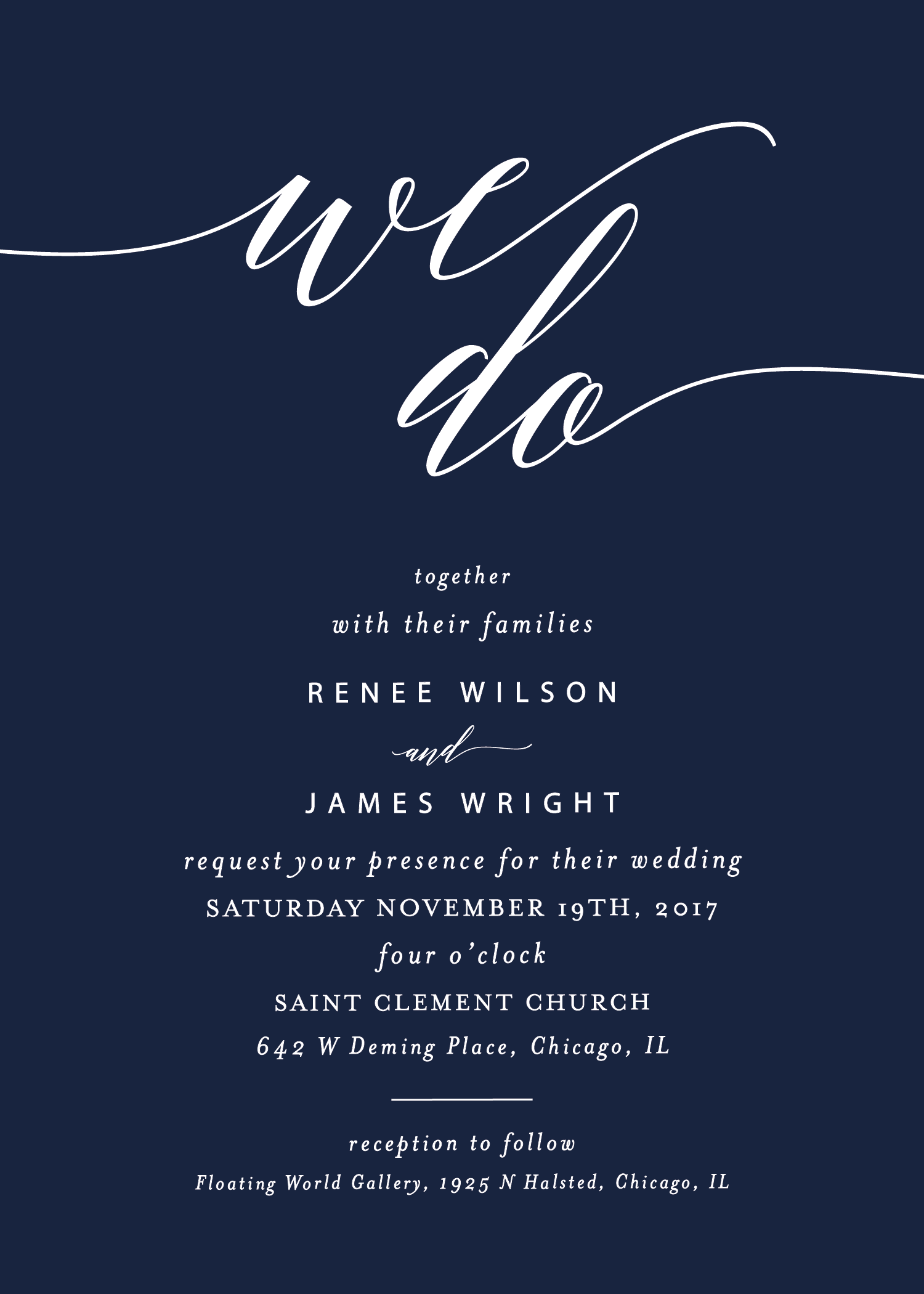 Navy and white wedding invitation - a classic navy color with white ...