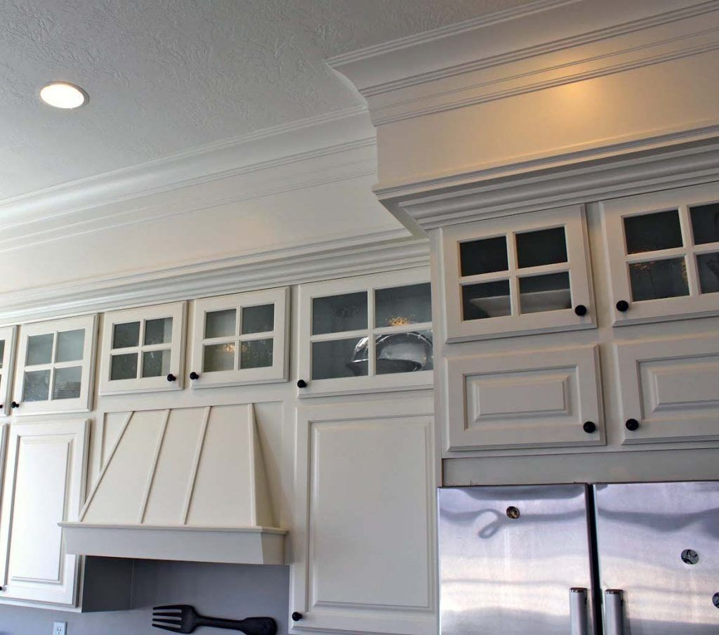 White Kitchen Cabinets With Crown Molding Glass Doors Kitchen Soffit Above Kitchen Cabinets Upper Kitchen Cabinets