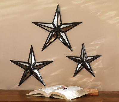 mirrored barn star wall decor trio - Star Wall Decor