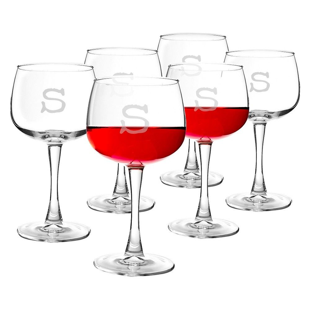 Cathy\'s Concepts Personalized 13oz. Red Wine Glasses (Set of 6)-S ...