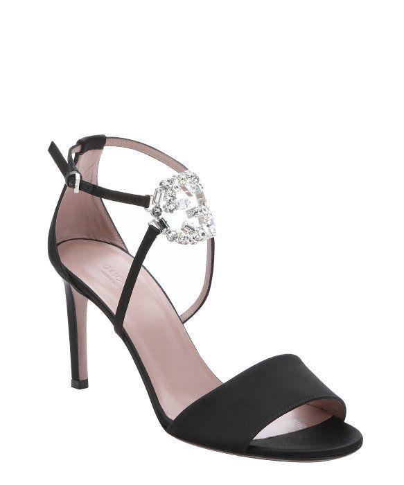 9d51f819498 Gucci black silk  GG  crystal logo stiletto sandals