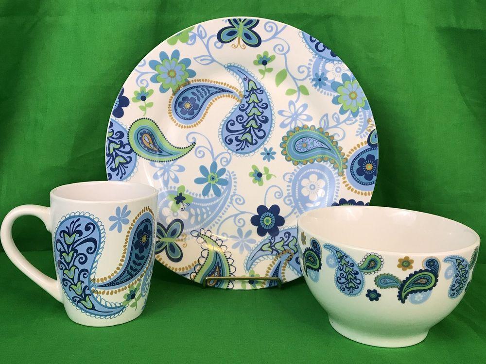 Royal Norfolk Blue Paisley Plate Bowl And Coffee Mug 12 Piece Dinnerware Set New   eBay & Royal Norfolk Blue Paisley Plate Bowl And Coffee Mug 12 Piece ...