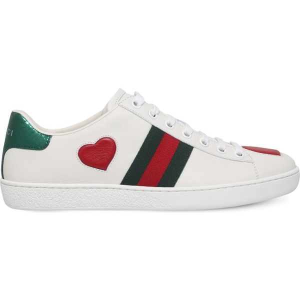 1ded9d471 Gucci New Ace heart-detail leather trainers ($475) ❤ liked on Polyvore  featuring shoes, sneakers, metallic shoes, gucci sneakers, heart shoes, ...