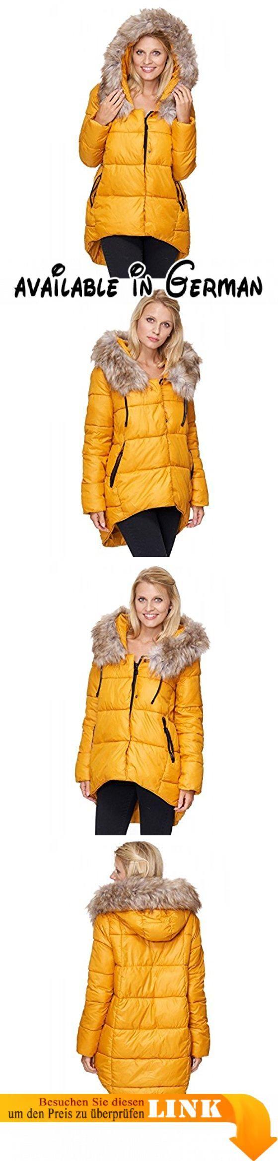 Italy Moda Damen Steppjacke mit Kapuze Winterjacke Vokuhila Style (L,  Gelb). Coole