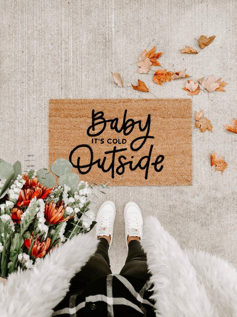 baby its cold outside fall decor hello mat