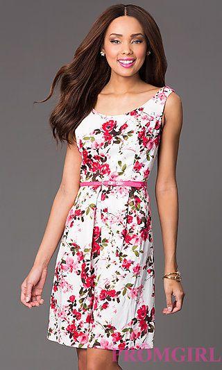 Short Scoop Neck Casual Floral Print Dress at PromGirl.com