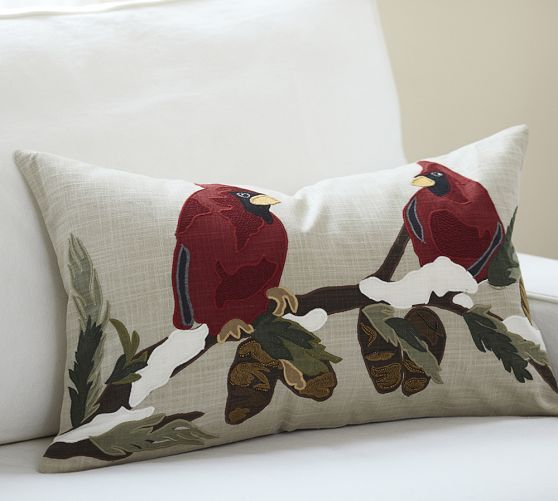Cardinal Birds Embroidered Lumbar Pillow Cover Pottery Barn