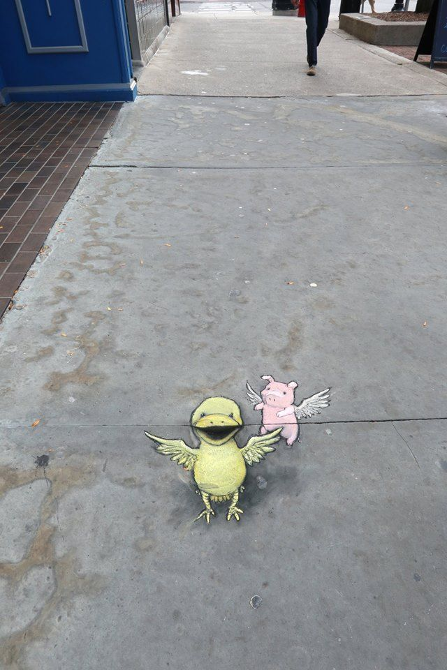 Two things with feathers, looking hopeful and in need of crumbs. — David Zinn …