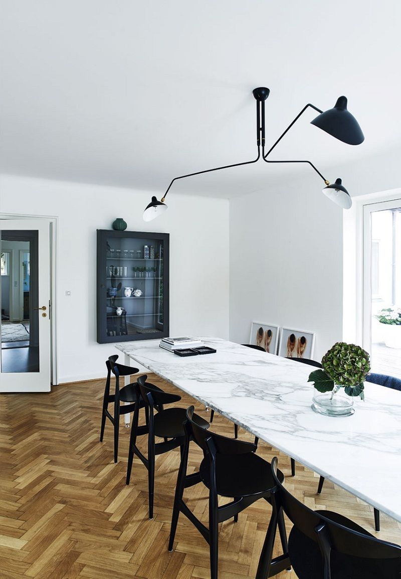 11 White Marble Dining Tables We Love Dining Room Design Black Dining Chairs Dining Room Table