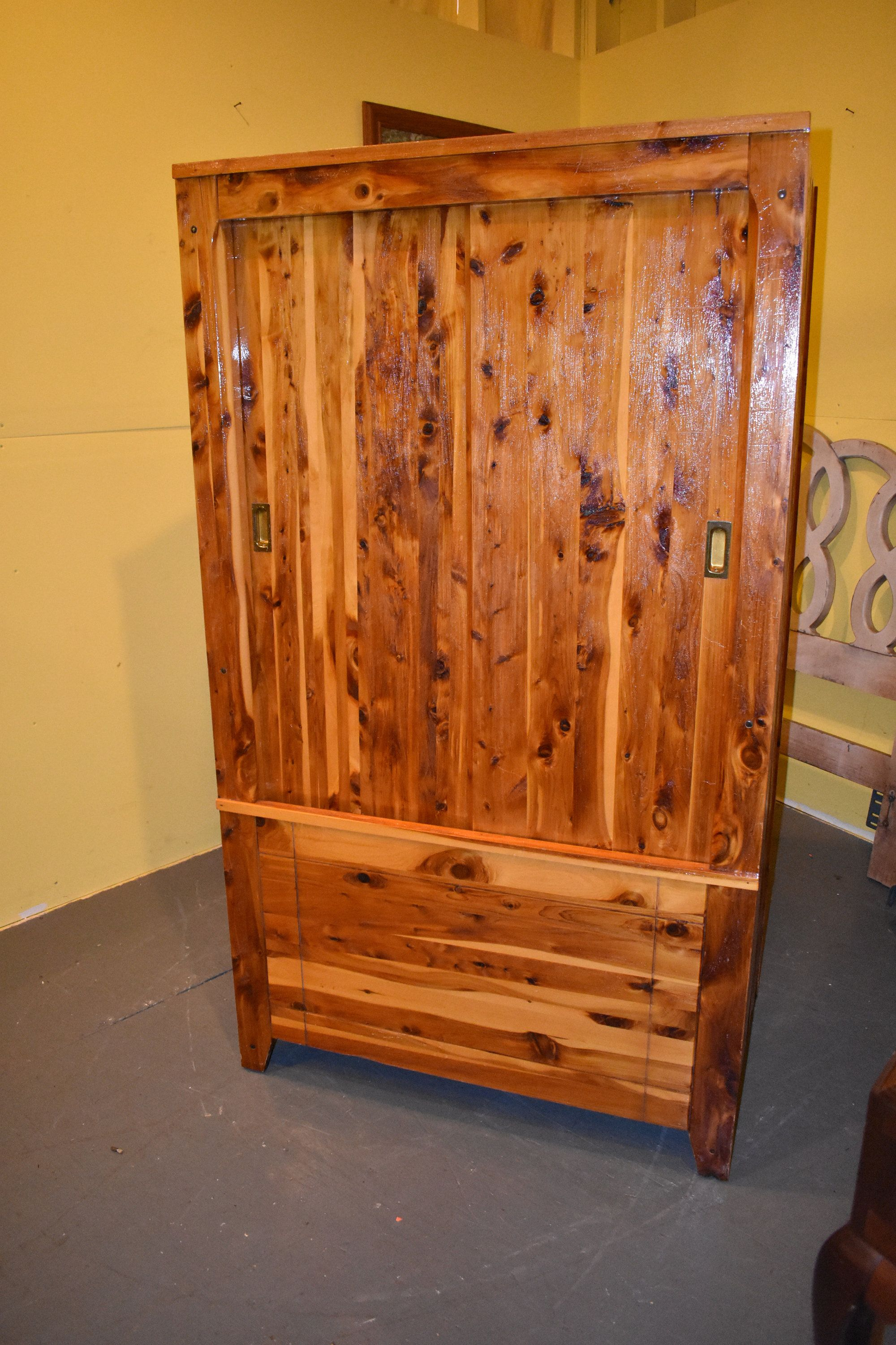 Large Antique Vintage Solid Red Cedar Bedroom Armoire ...