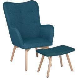 Sessel Polsterbezug blau plus Hocker VEJLE II