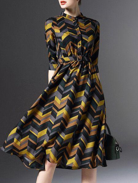 9c61e4f8b3f1 Shop Midi Dresses - Brown Half Sleeve Printed Dyed A-line Midi Dress  online. Discover unique designers fashion at StyleWe.com.