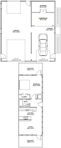 36x40 Apartment With 1 Car 1 Rv Garage Pdf Floor Plan 902