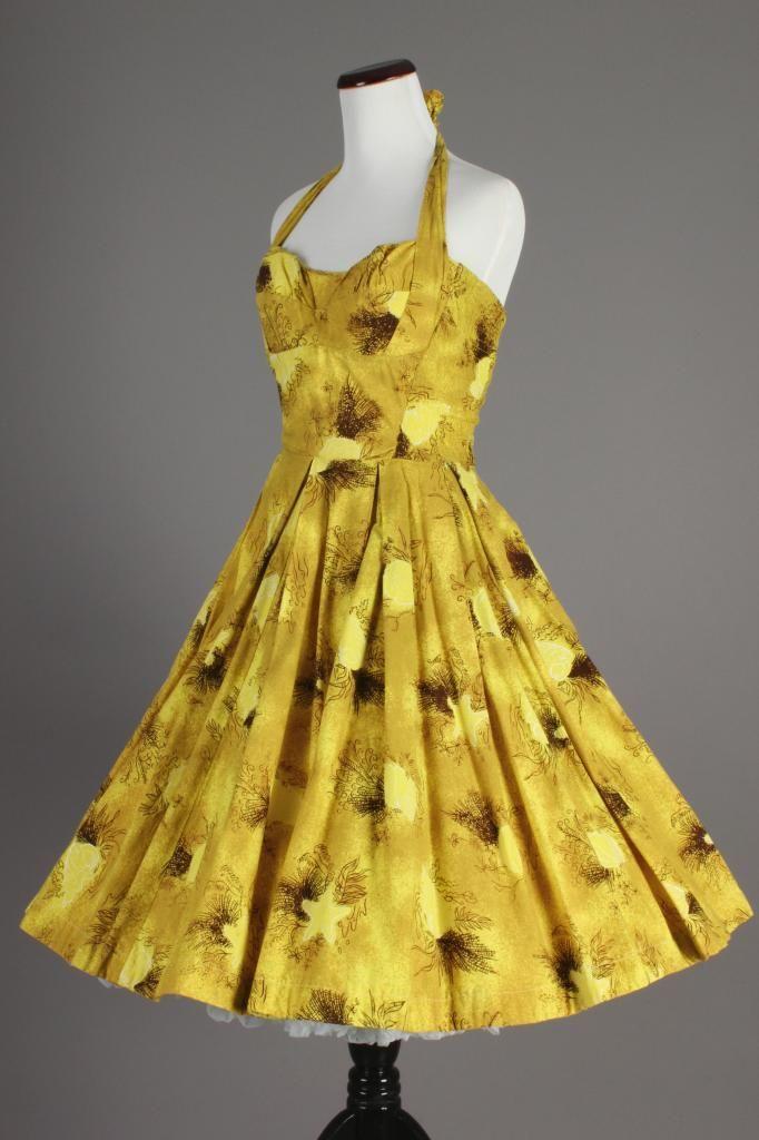 47ba4a57ff2f 50s-60s VTG Kahala Hawaiian Luau Yellow Cocktail Dress w/ Full Skirt. A  beautiful vintage Hawaiian dress in a bright yellow starfish and seashells  print!