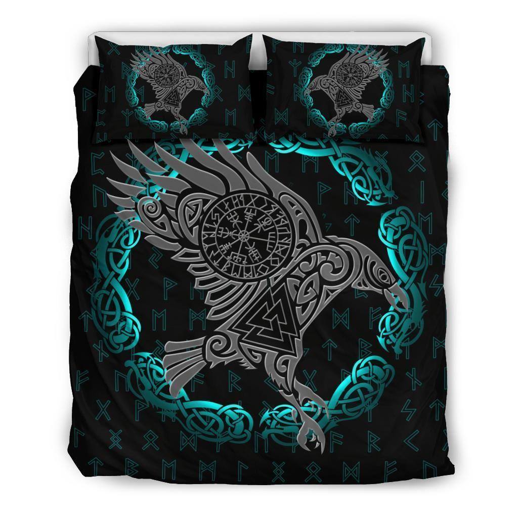 1stIceland Viking Bedding Set, Odin's Raven Helm Of Awe