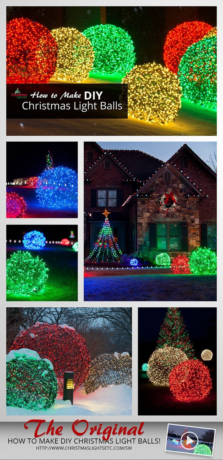 How to make wildly popular Christmas light balls! Using chicken wire and string lights you can add DIY light balls to your outdoor Christmas decorations!  sc 1 st  Pinterest : christmas light spheres outdoor - www.canuckmediamonitor.org