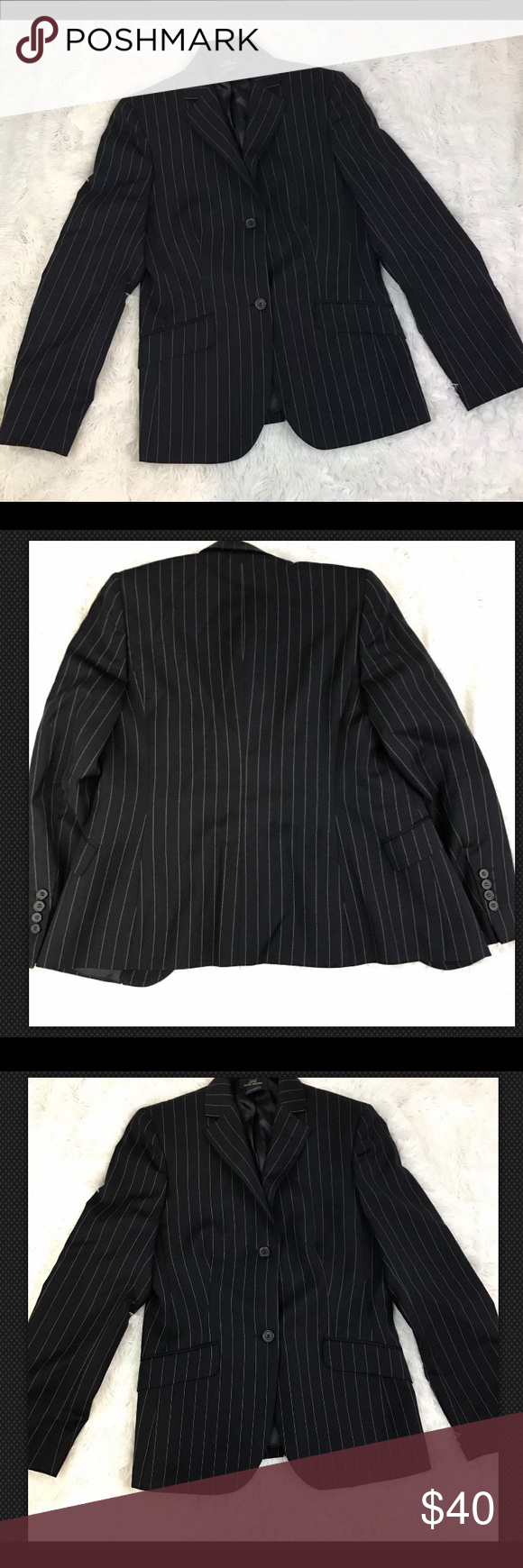 Brooks Brothers Womens Blazer Size 4 Wool Brooks Brothers Womens Blazer Size 4 Wool Jacket Navy Blue Pinstripe. Condition: Pre-owned. No flaws. Features: Double button closure. Lined. Chest: 16 inches. Length: 26 inches. Sleeves: 23 inches. Shoulders: 14 inches Brooks Brothers Jackets & Coats Blazers