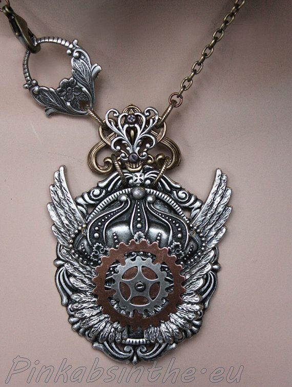 steampunk winged crown gothic necklace schmuck pinterest schmuck. Black Bedroom Furniture Sets. Home Design Ideas