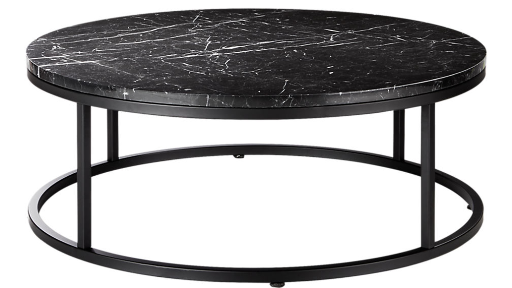 Robin 100cm Round Marble Coffee Table With Black Base Black