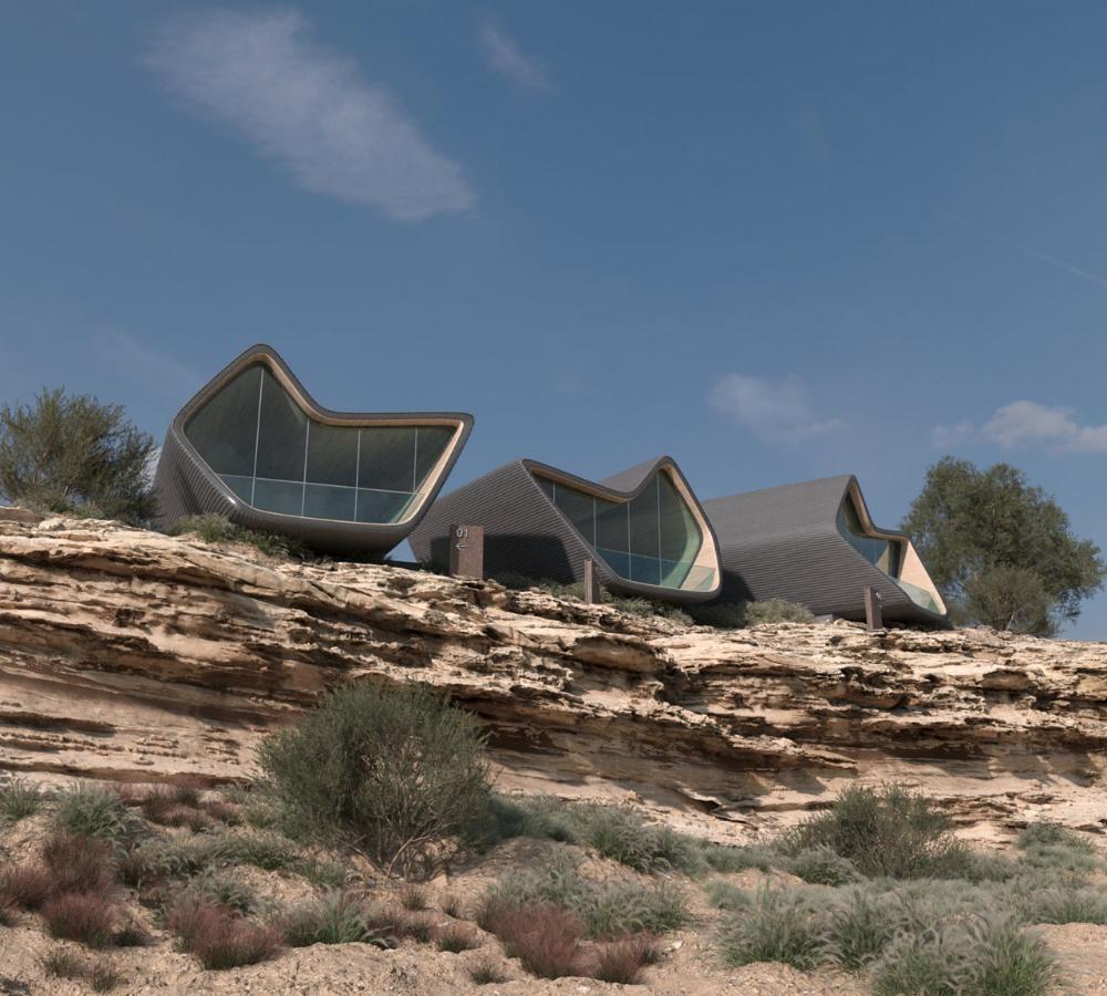 Cliff Shaped Cabins In Saudi Arabia By Depth Of Field Identity Magazine Depth Of Field Saudi Arabia Cabin