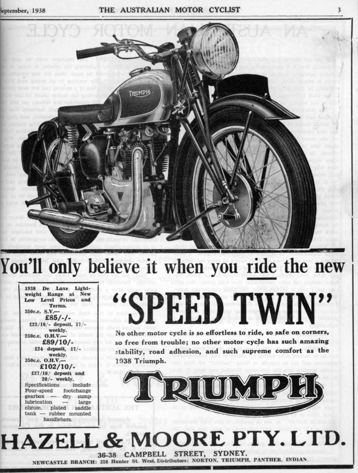 1938 Triumph Australia Advertisement Triumph Motorcycles Motorbikes Vintage Advertisements