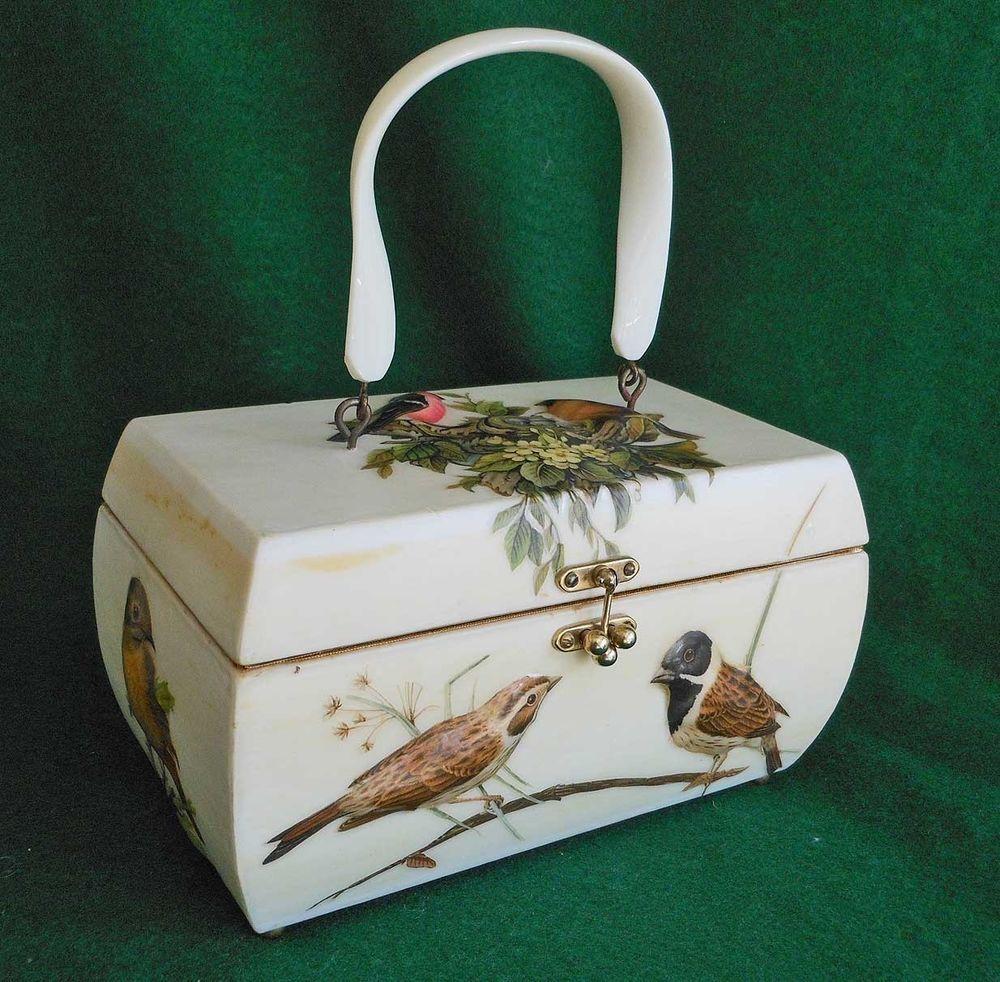 Vintage 50s Box Bag Handbag Purse Naturalist Birds Nest Ornithology 3D Huge | eBay