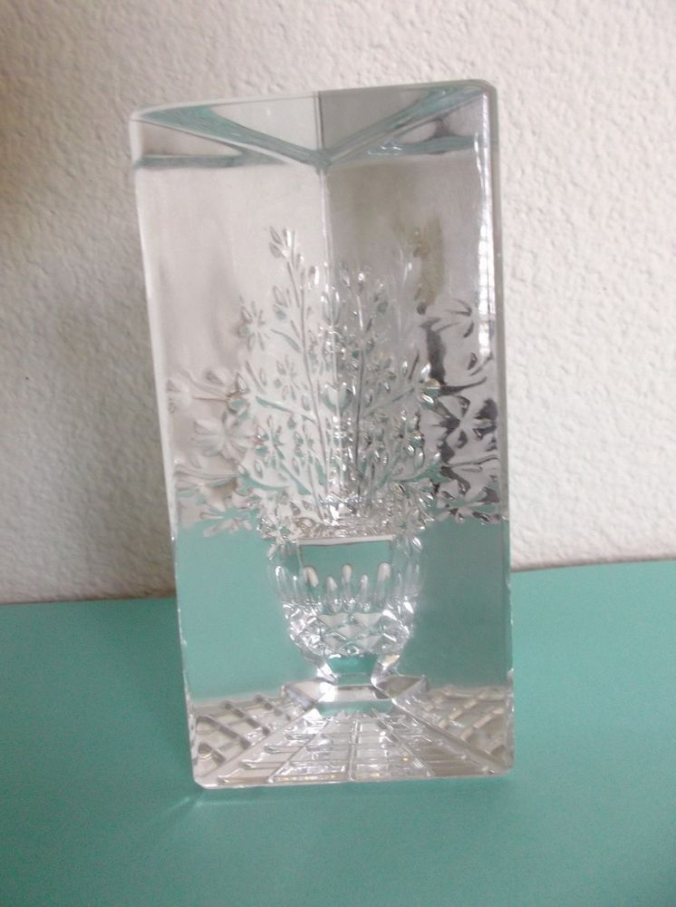Waterford Crystal Prism Paperweight Taglio Style Lismore Vase W