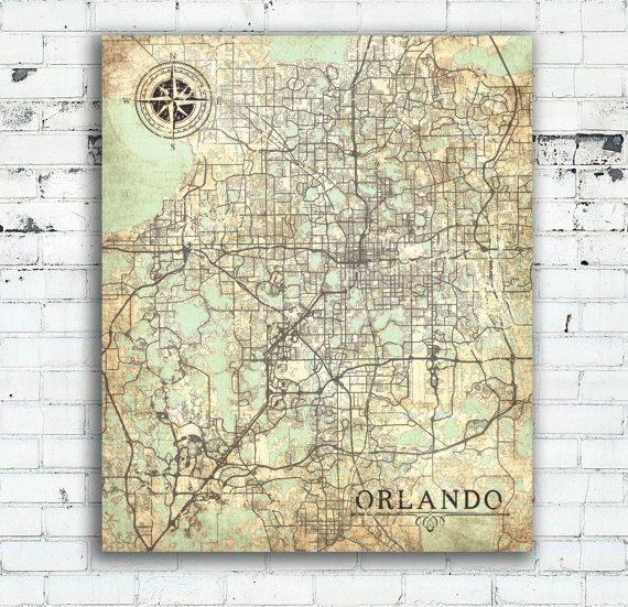 ORLANDO FL Canvas Print Orlando City Florida Vintage map Orlando