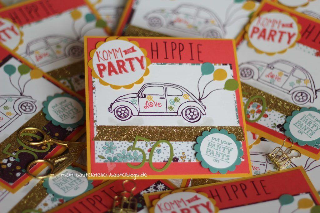 Hippie Einladungen Mottoparty Geburtstag