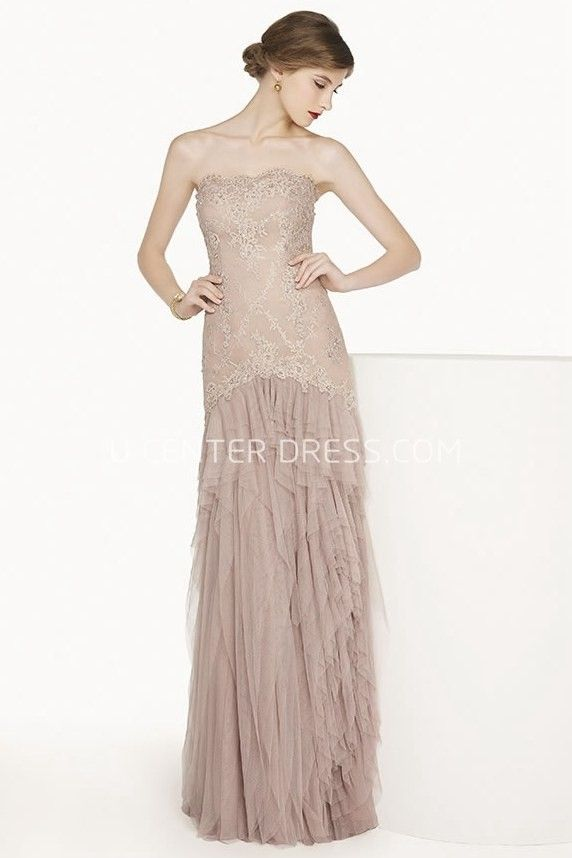 Scalloped Strapless Tulle Long Prom Dress With Lace Top And Tiered ...