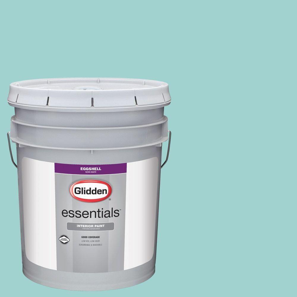 Glidden Essentials 5 gal. #HDGB19D Soft Aqua Stone Eggshell Interior Paint
