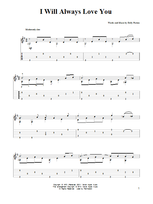Dolly Parton: I Will Always Love You - Partition Tablature Guitare - Plus de 70.000 partitions à imprimer !