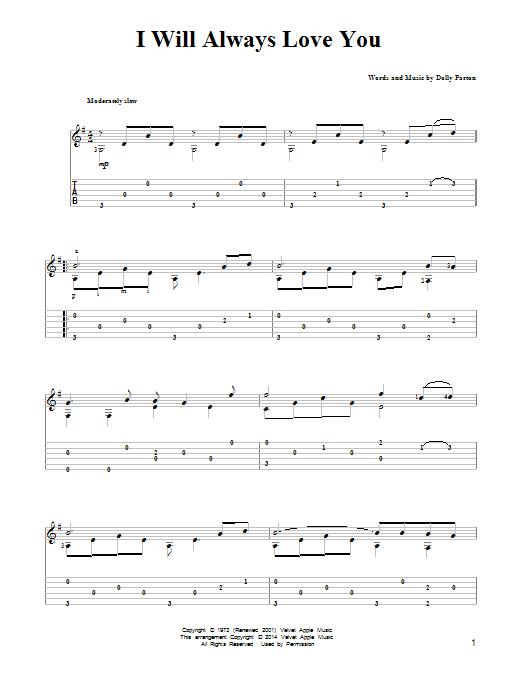 Dolly Parton: I Will Always Love You - Partition Tablature Guitare - Plus de 70.000 partitions à imprimer !