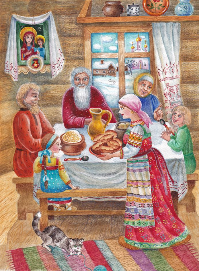 Хорошо всей семьёй собираться за столом.   Иллюстрации ...