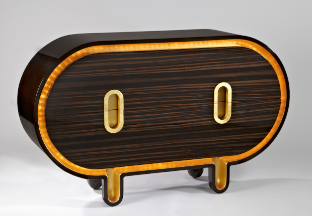 Hubert le Gall - Commode Glossy - 2012 - Lacquered wood, Macassar ebony, gilt bronze and LEDs - 85 x 140 x 49 cm - Edition of 8 copies - Photo credits : Bruno Simon