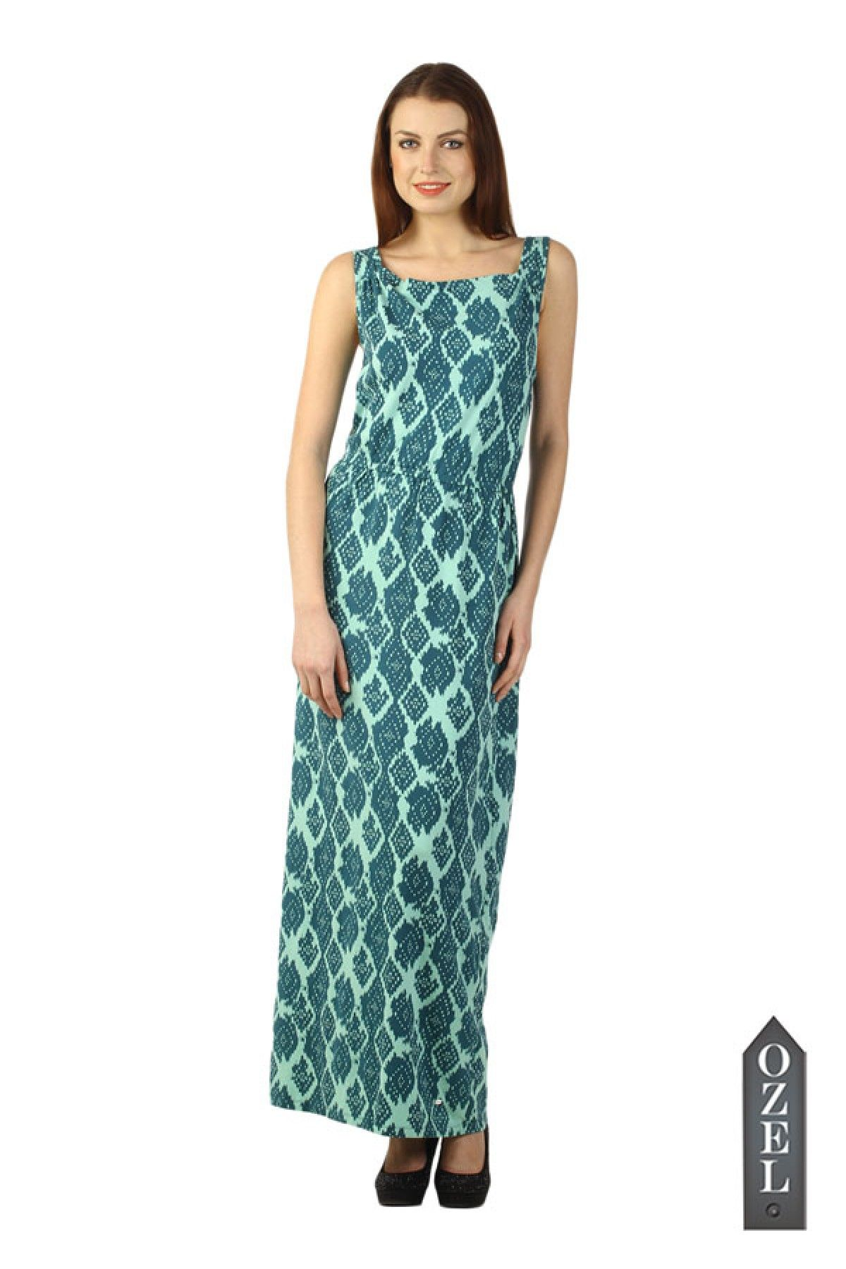 Blue Geometric Print Maxi Dress BY OZEL STUDIO | Love for Gowns ...