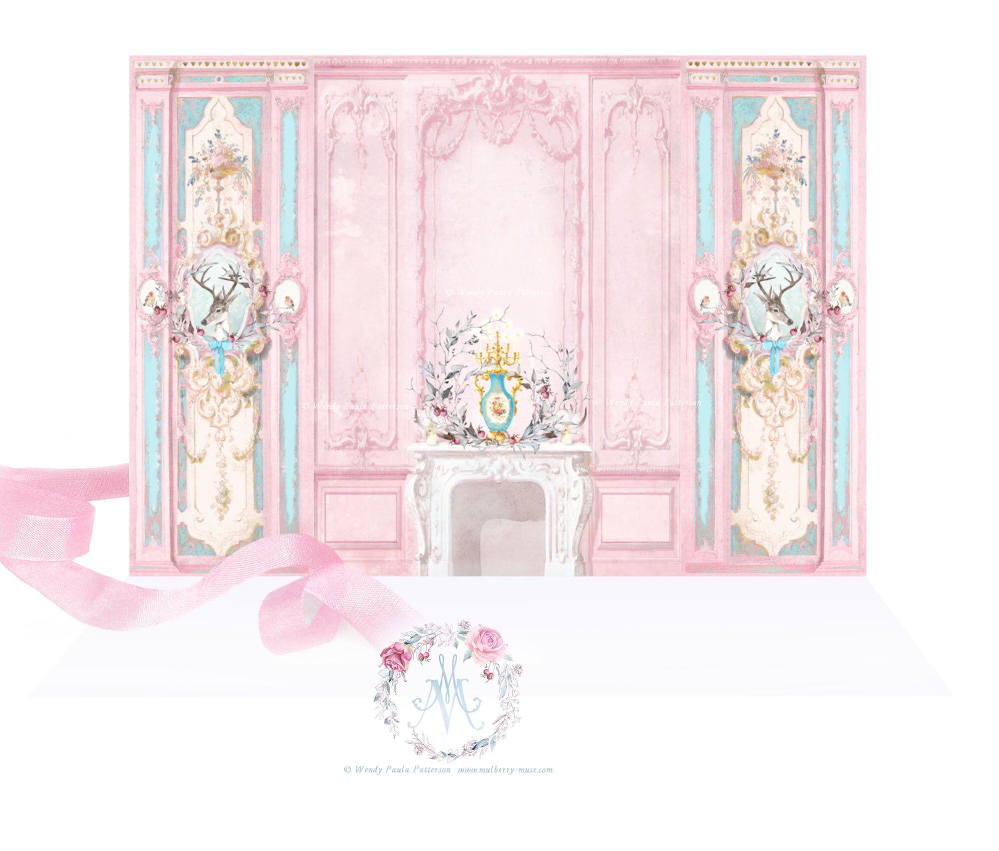 Dollhouse Miniature Trim Trim Floral and Cherub Wallpaper Border
