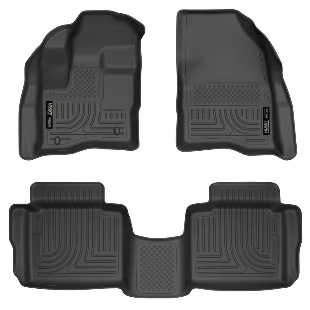 2-Pc Black Front Floor Liners for 2015-2019 GMC Sierra 2500//3500 Double Cab