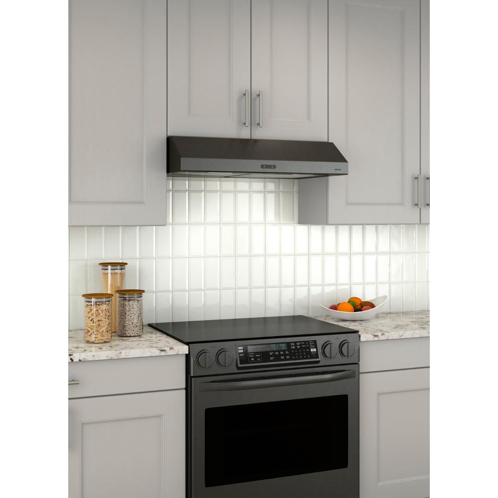 Broan Nutone Glacier Deluxe 30 In Convertible Under Cabinet Range Hood With Light In Black Stainless Bcdf130bls The Home Depot Range Hood Under Cabinet Range Hoods Under Cabinet