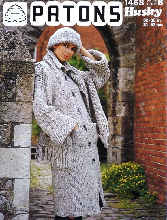 VINTAGE LADIES COAT HAT SCARF KNITTING PATTERN Patons Chunky 32-38 ...