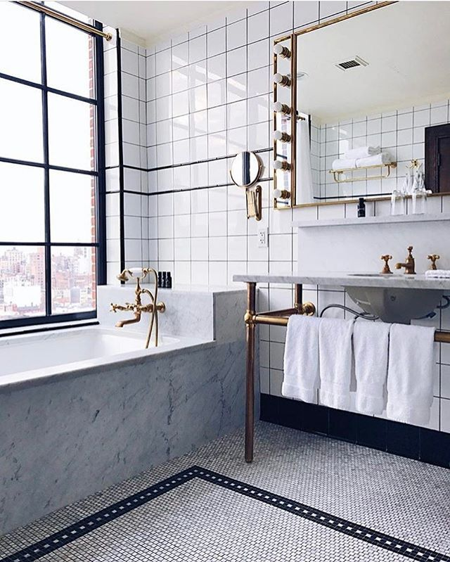 When You Re Tired Of Exploring The City The Bathroom At The Ludlowhotelnyc In Newyork Makes It Easy To S Home Room Design Ludlow Hotel White Bathroom Tiles