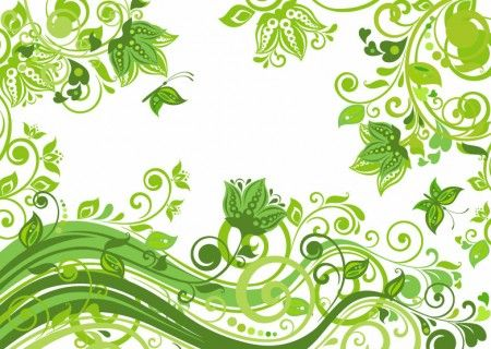 abstract floral green background vector illustration デザイン資料