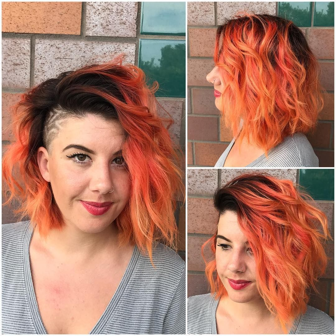 Get Simple Styling Tutorials For This Messy Side Swept Wavy Bob With Orange Ombre Color And Shaved Side Hairstyles Medium Length Hair Styles Medium Hair Styles