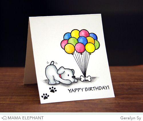 Design Blog Dog Birthday Card Mama Elephant Cards Birthday Card Drawing
