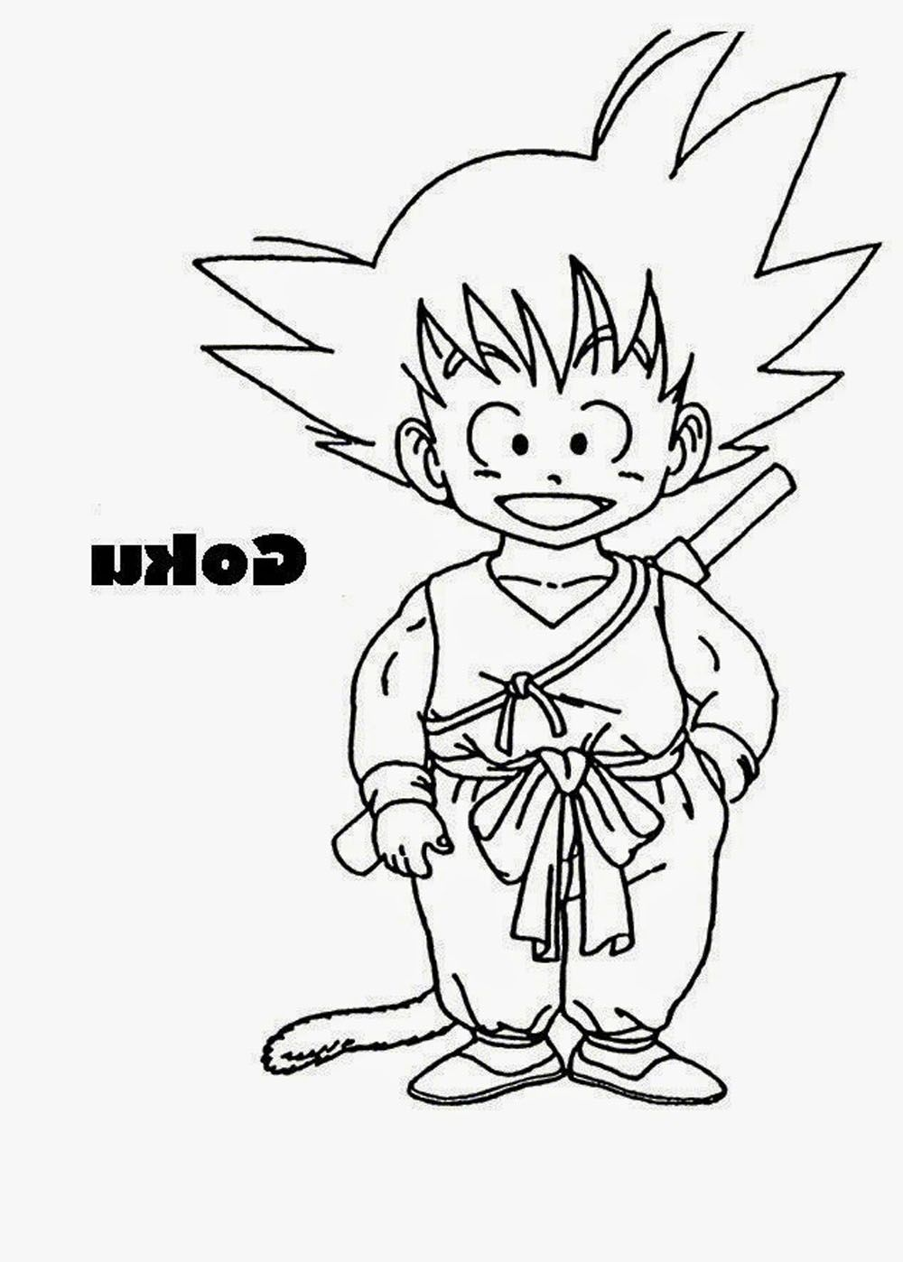 Dibujo de Goku niño con cola para imprimir doibujar y colorear ...