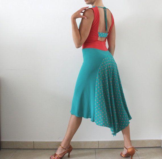 Green Tiffany Coral Tango dress Milonga night wear Dress with tail ... f5ec0d05e24