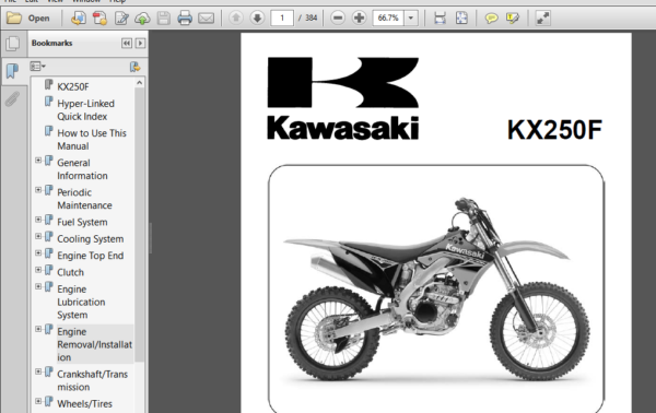 2010 Kawasaki Kx250f Kx250xaf Service Repair Manual Motorcycle Repair Manuals Repair Manual