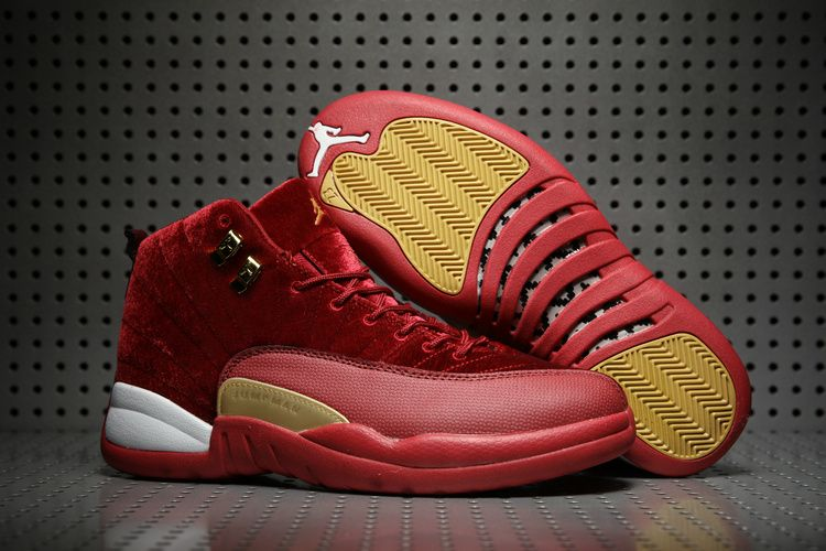 the latest cfa0a a6387 New Air Jordan 12 Velvet Wine Red Yellow White Shoes ...