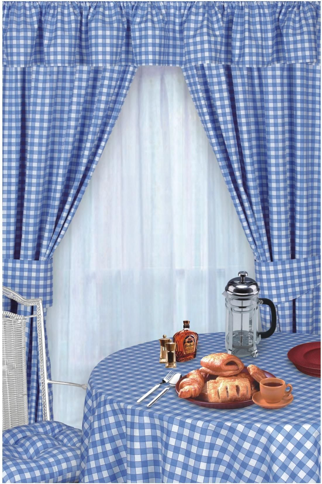 Blue Colour Check Kitchen Curtains In 2020 Blue Kitchen Curtains