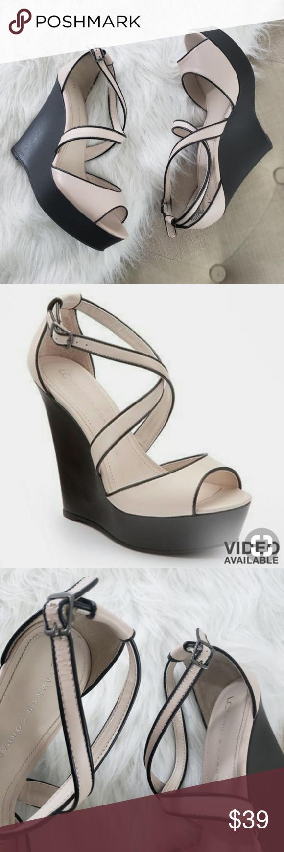 aded4d26c84b LC Lauren Conrad Strappy Wedge Heels Taupe Black LC Lauren Conrad Size 9.5  Good condition